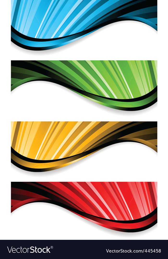 Collection of bright wavy banners vector image