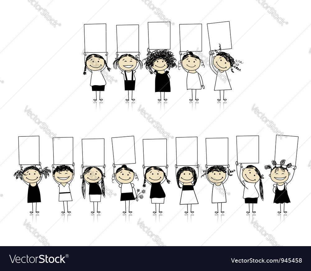 Congratulations from beautiful smiling girls vector image