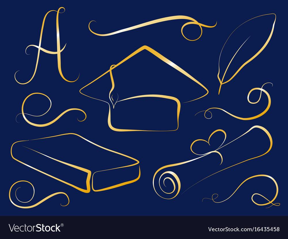 Golden graduation cap and education element vector image