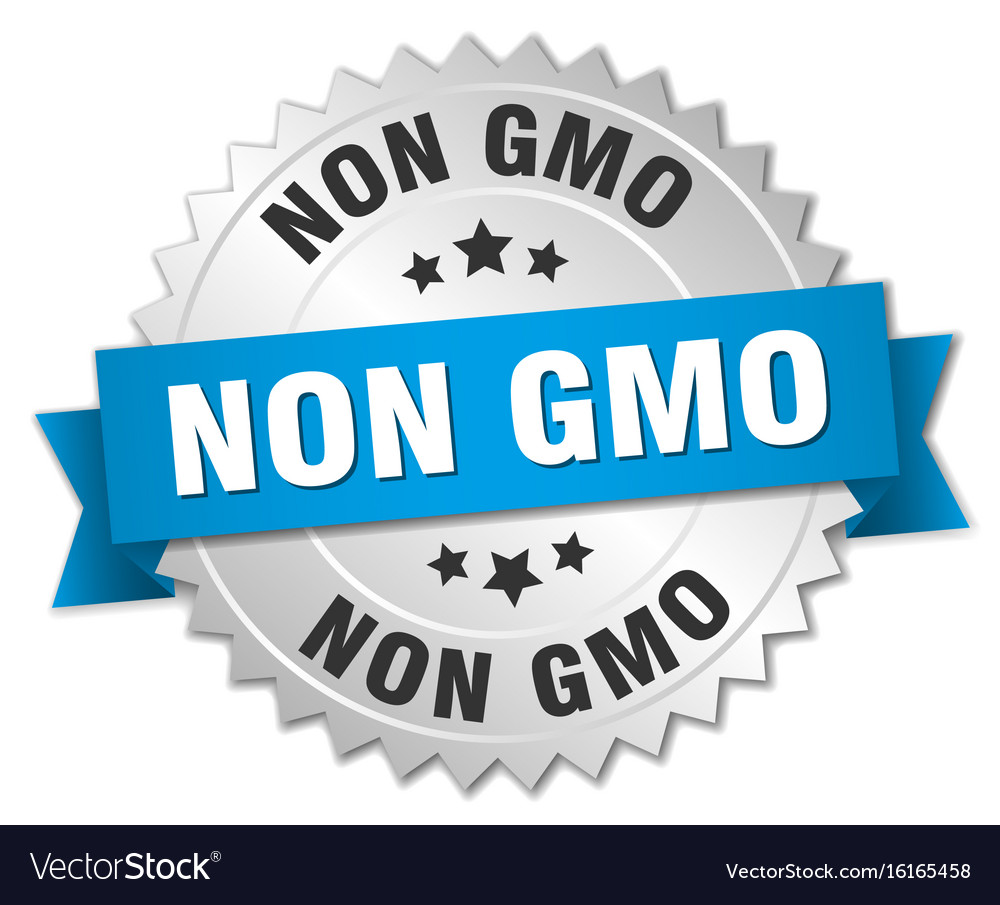 Non gmo 3d silver badge with blue ribbon vector image buycottarizona Images