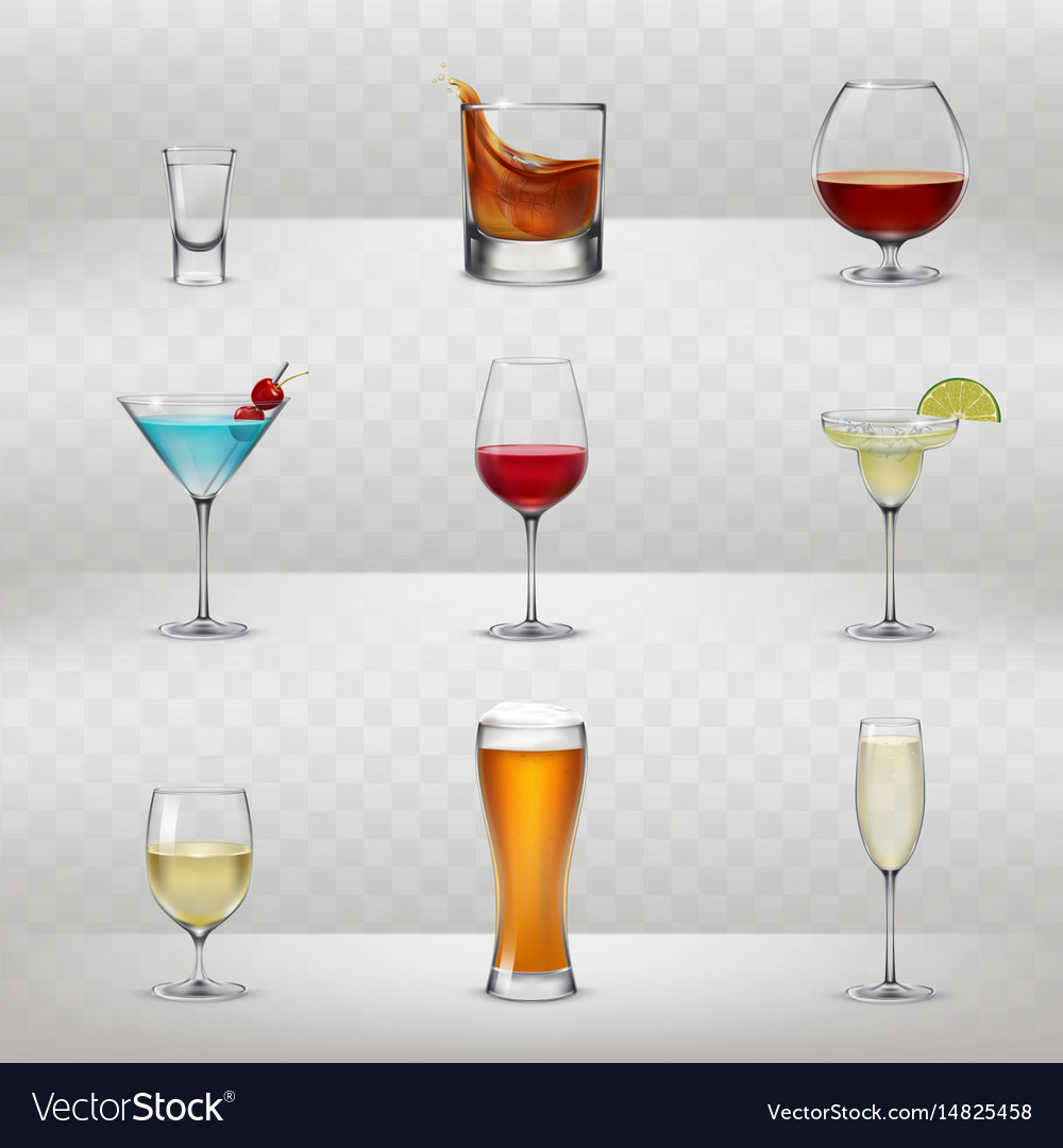 Set of glasses for alcohol vector image