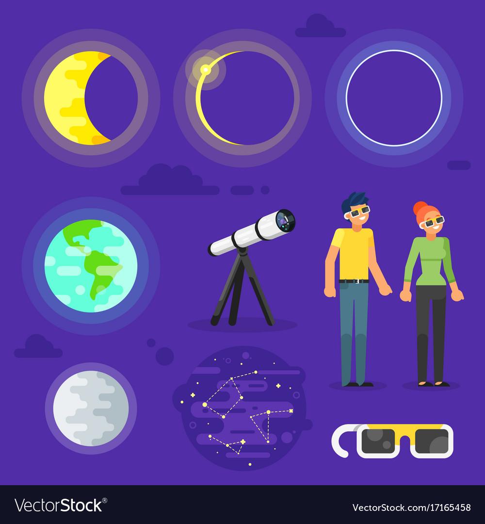Set of solar eclipse elements vector image