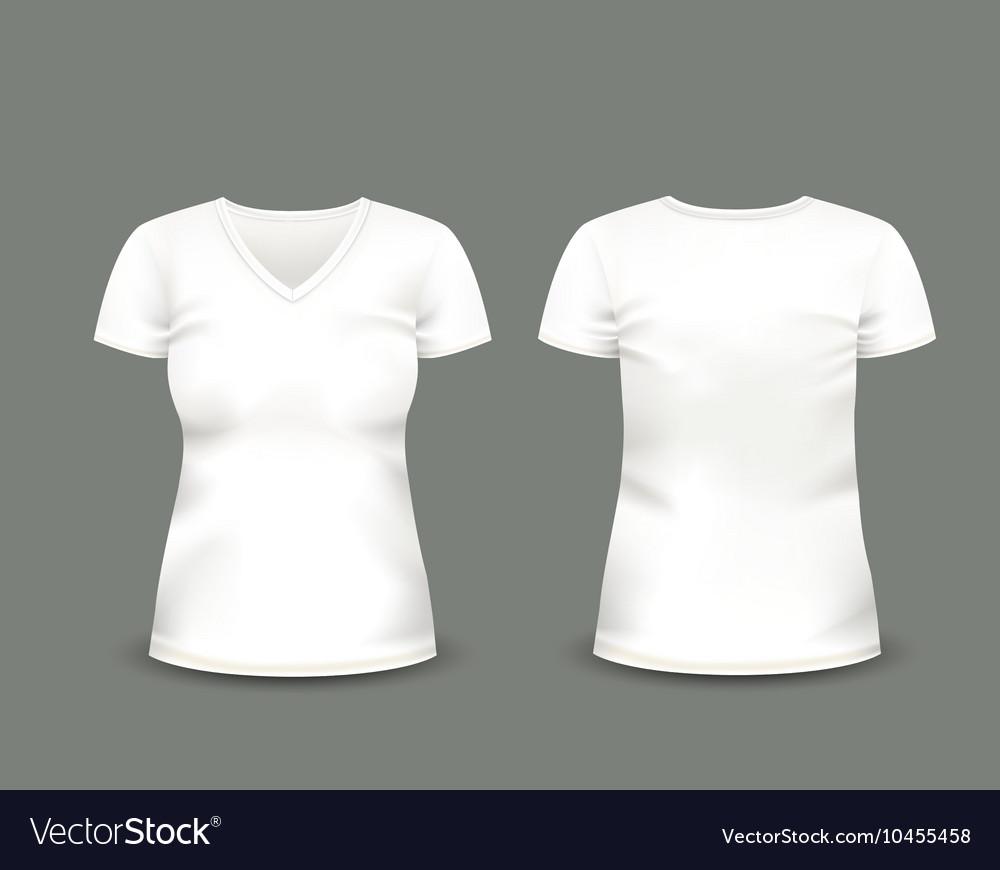 white v neck t shirt template royalty free vector image. Black Bedroom Furniture Sets. Home Design Ideas