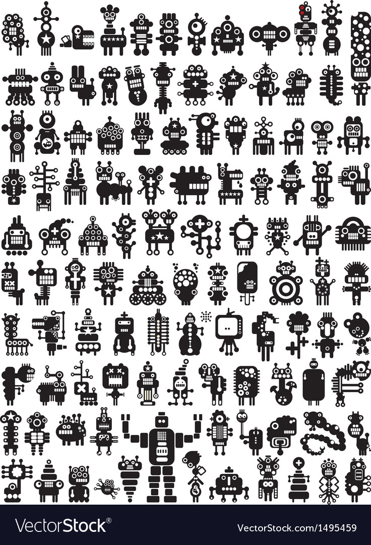 Big set of icons with monsters and robots Vector Image