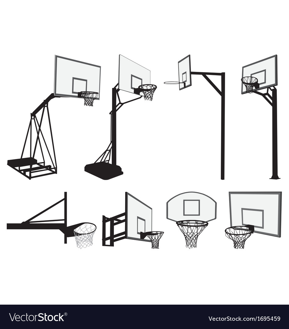 Basketball hoop silhouettes vector image