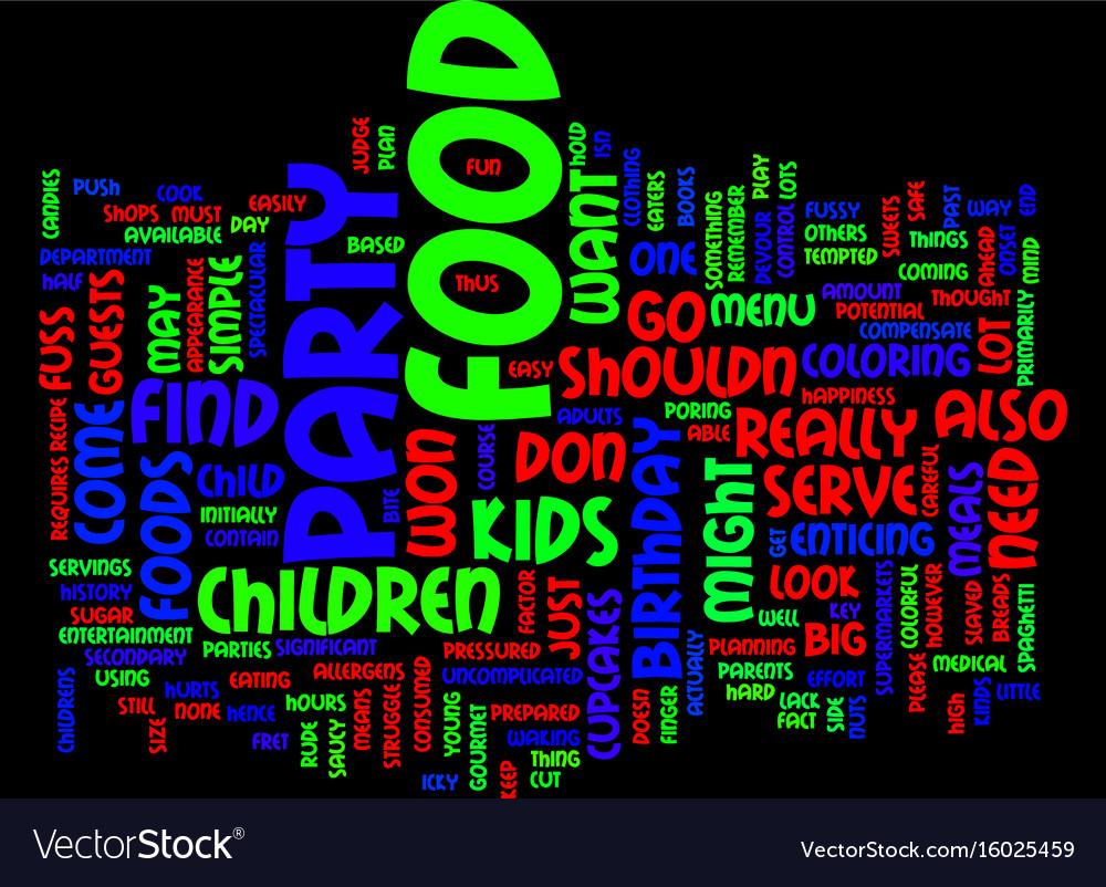Food for childrens parties text background word vector image