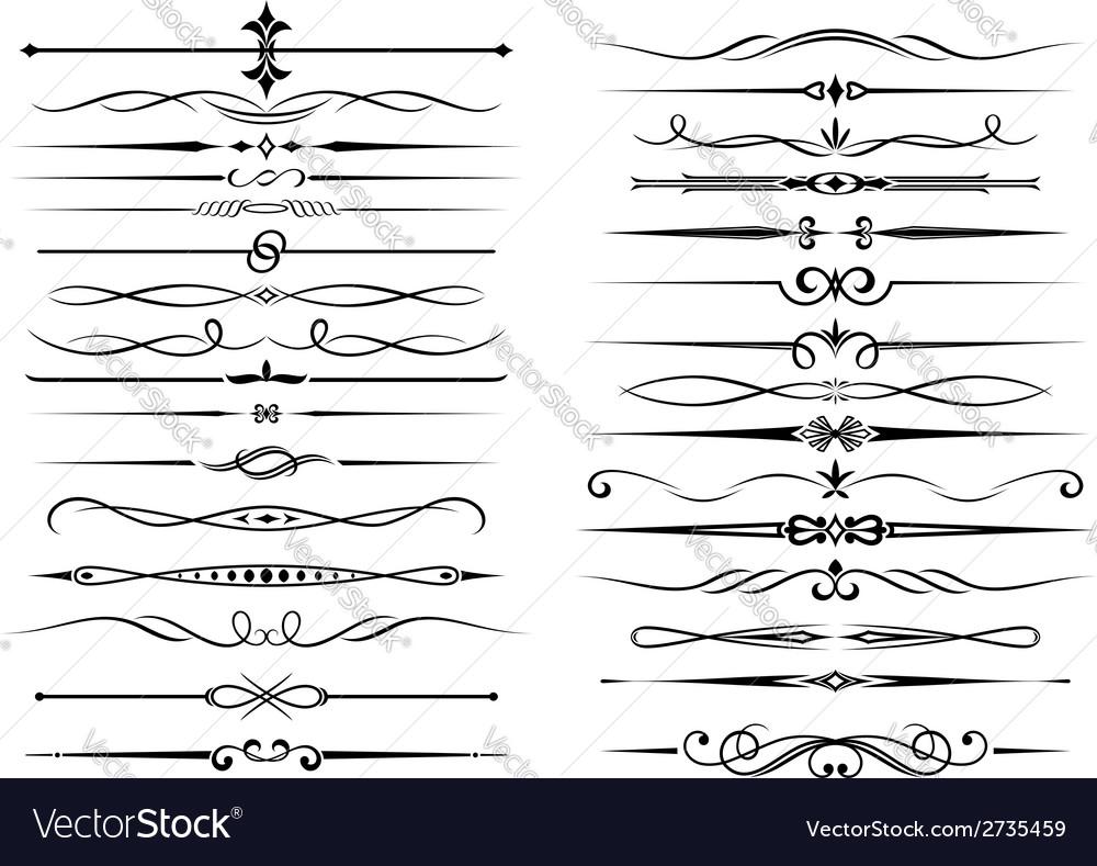 Vintage border elements set vector image