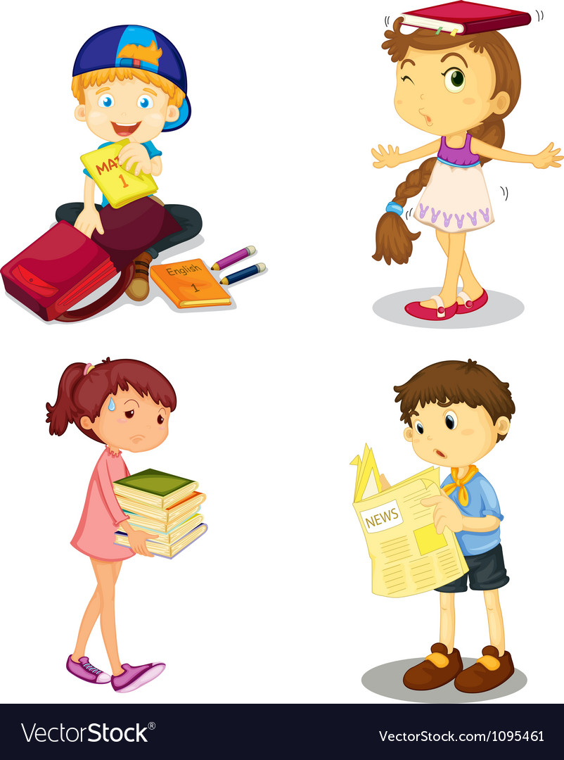 Kids and books vector image