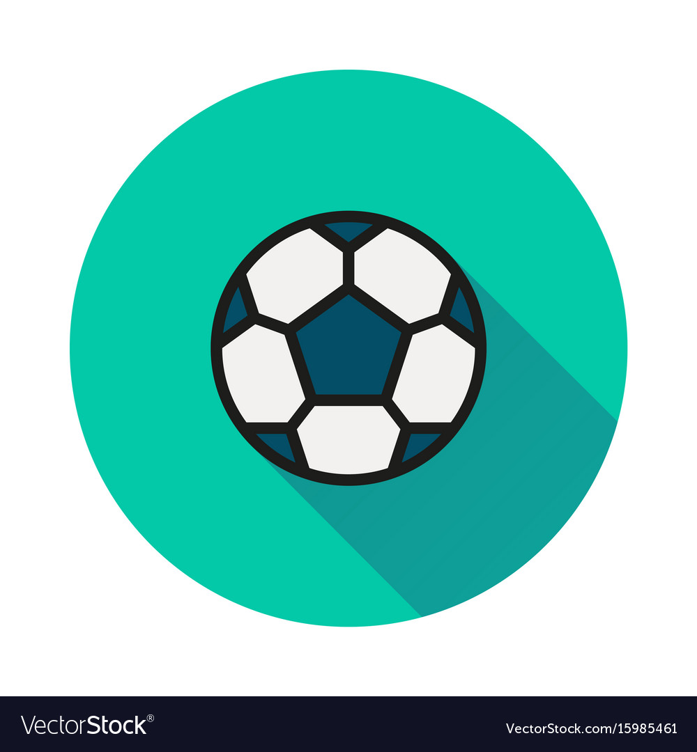 Soccer ball icon on round background vector image