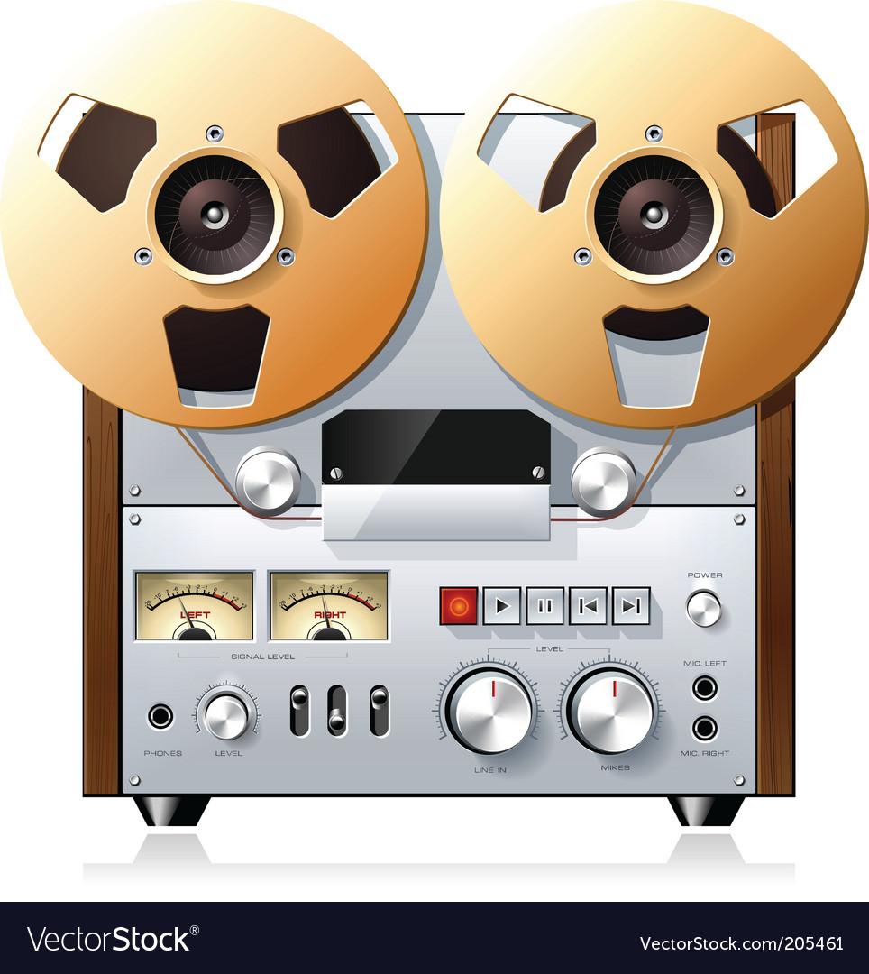 Vintage tape recorder vector image