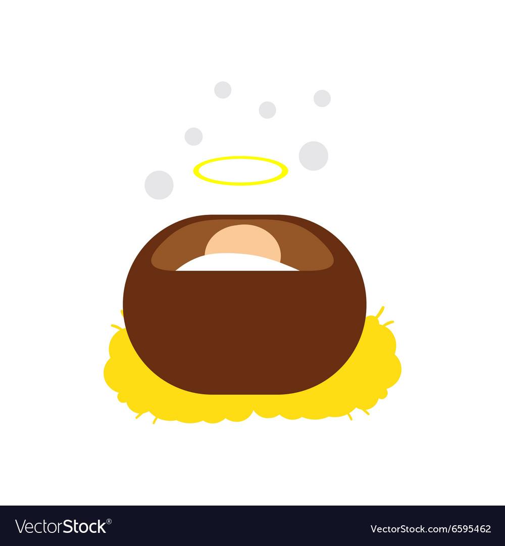 cute face virgin mary manger cartoon outline icon
