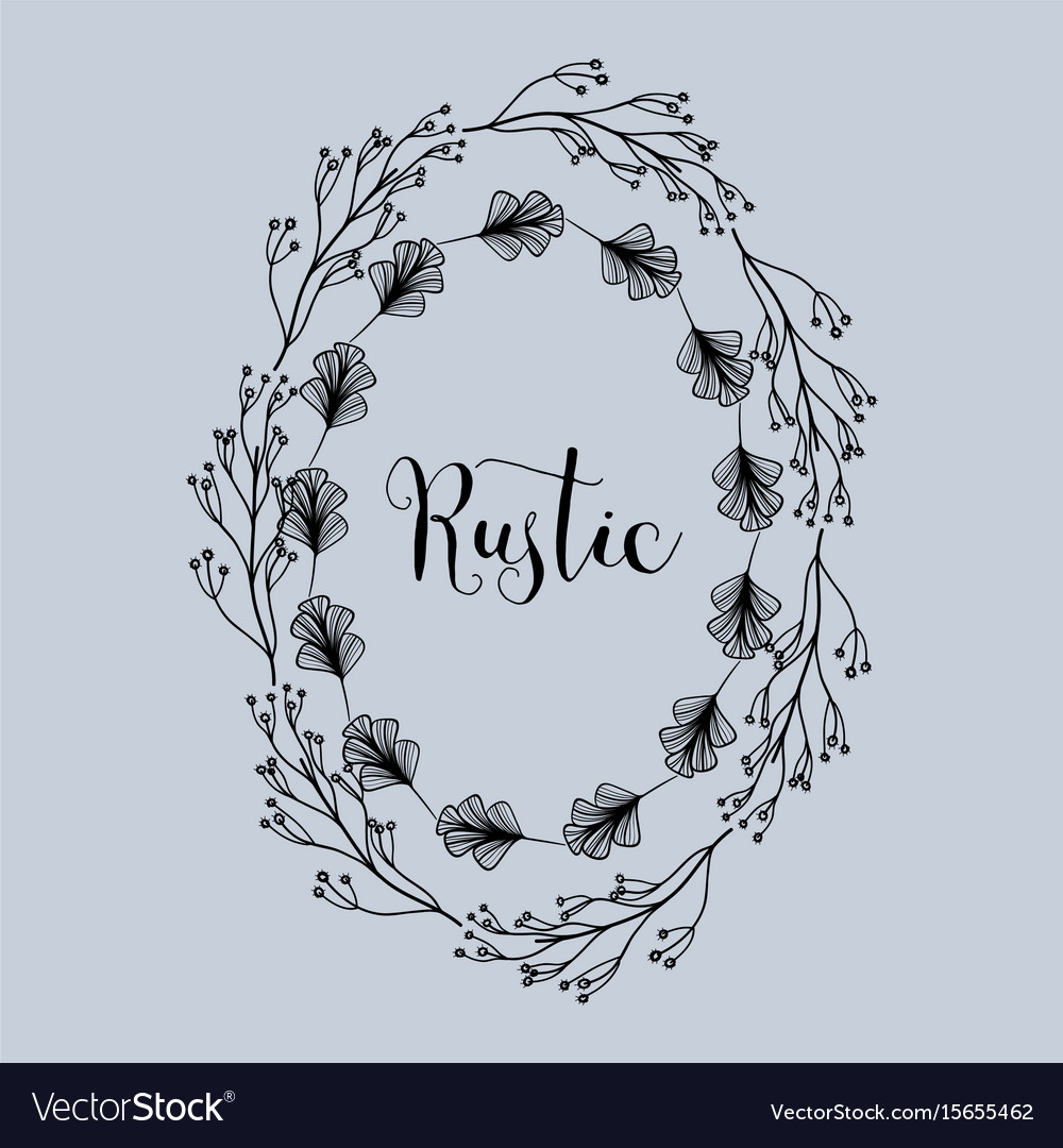 Rustic emblem decoration with branches and flowers vector image