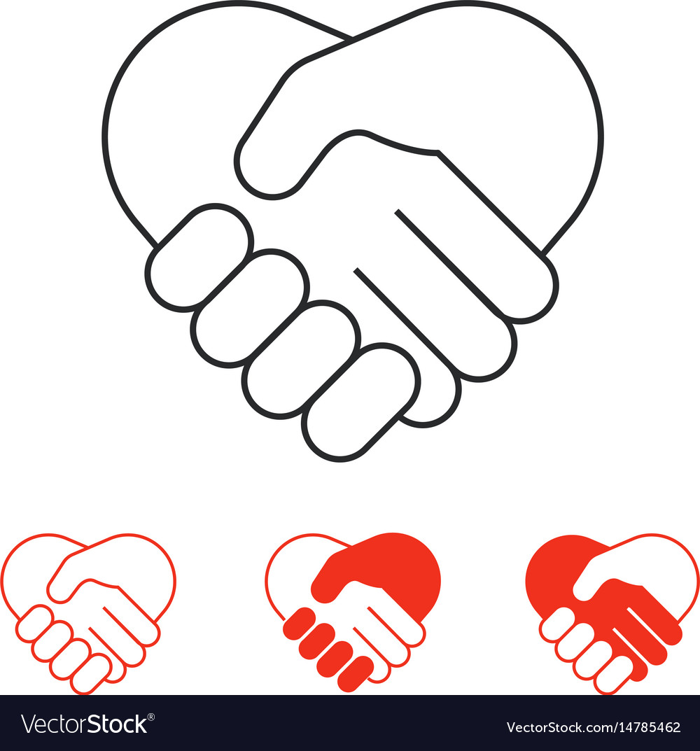 Shaking hands icons collection isolated on white vector image