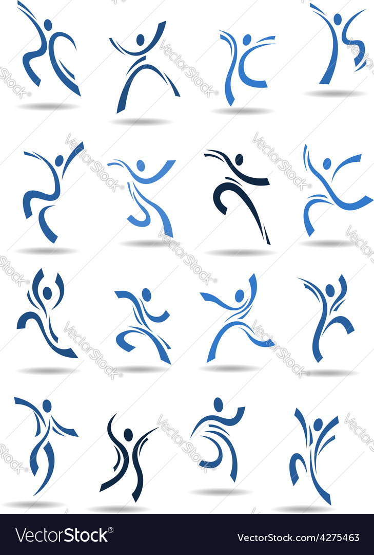 Abstract silhouettes of dancing people vector image