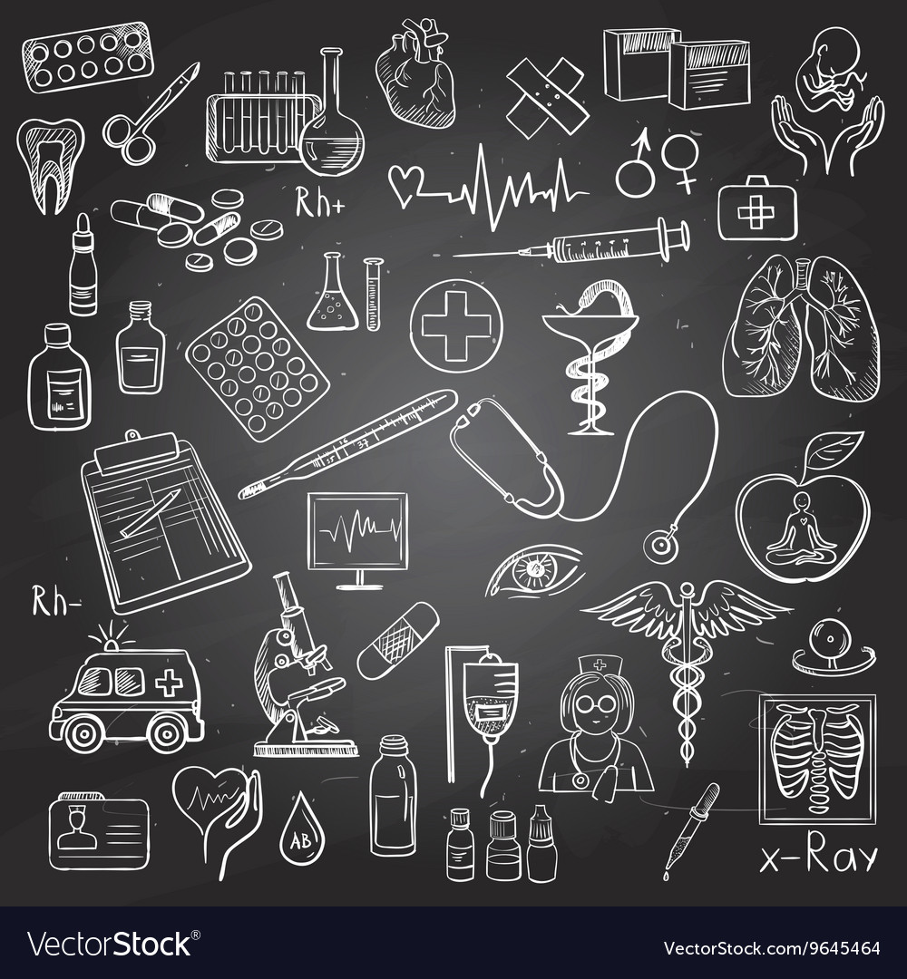 Health care and medicine doodle vector image