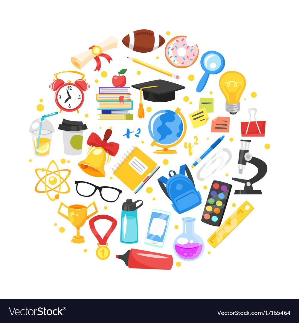 Round composition of school symbols royalty free vector round composition of school symbols vector image buycottarizona Image collections