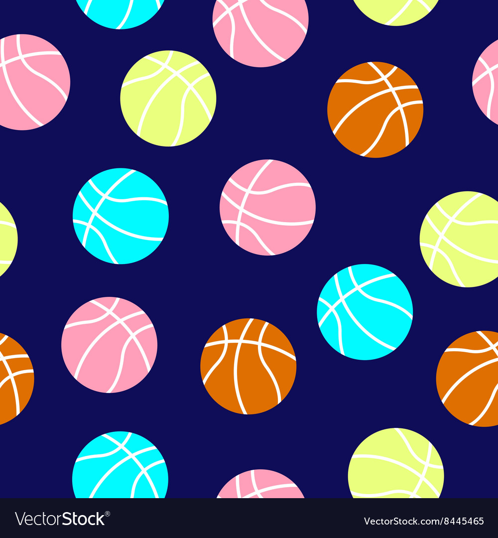 Colorful basketball balls pattern vector image