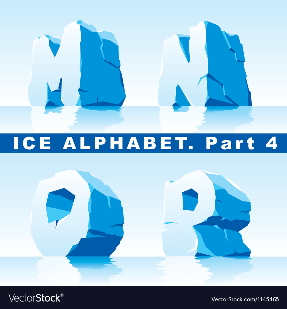 Ice alpfabet part 4 vector image