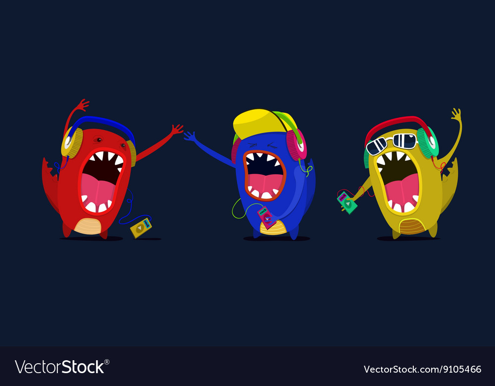 Cute monster listen to music graphic Set vector image