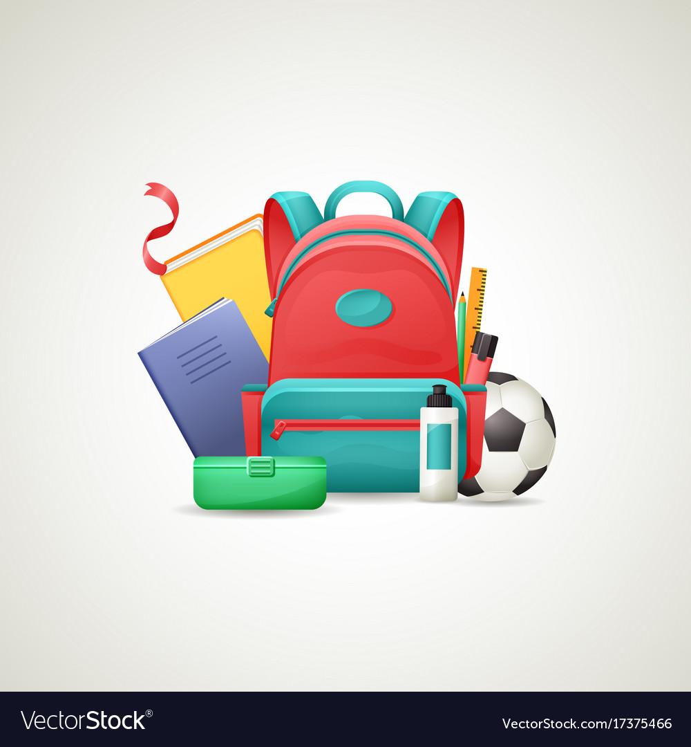 Schoolbag with school supplies set vector image