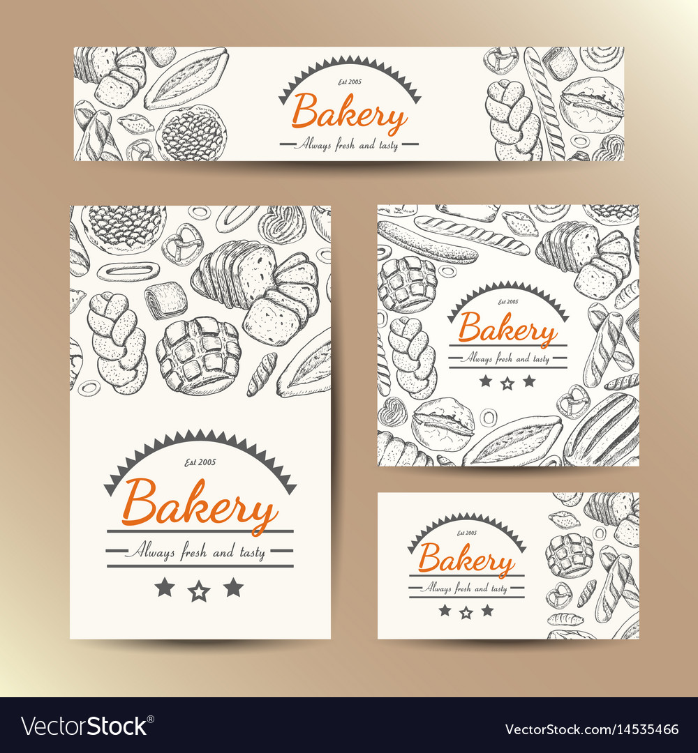 Set of cards with bakery products vector image