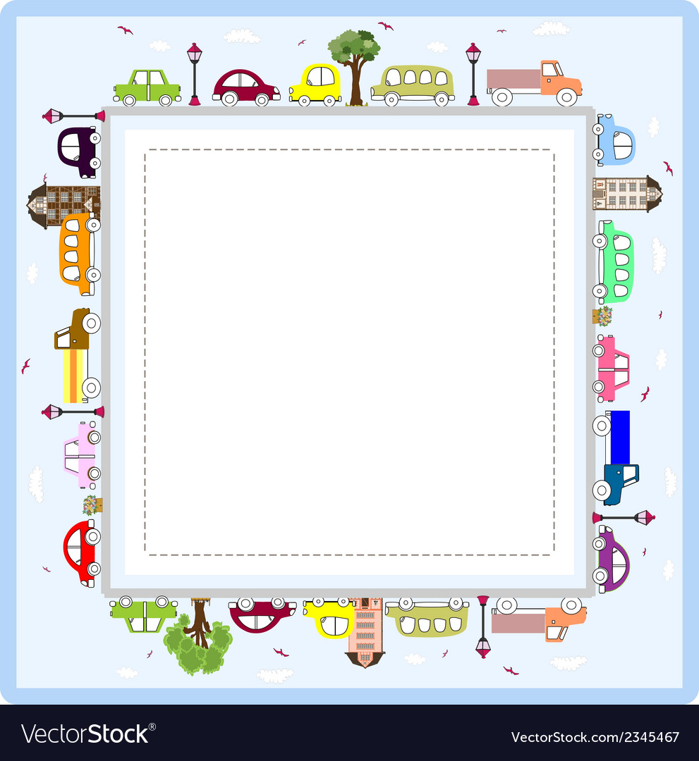 Baby greeting card or frame with cars vector image