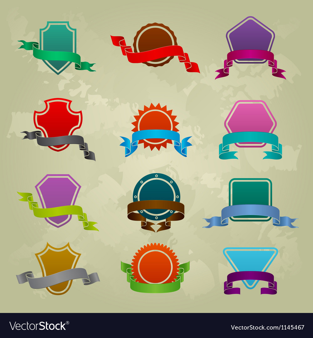 Collection of different ribbon icons vector image