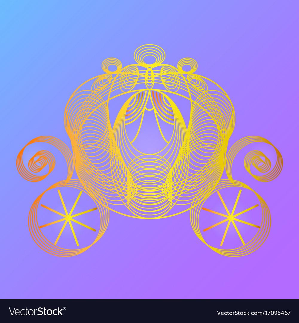 Golden carriage for the princess cinderella vector image