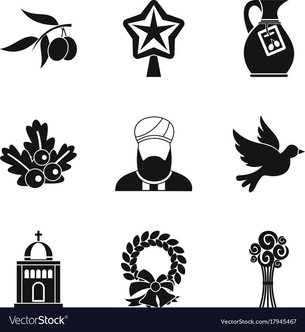 Ritual icons set simple style vector image