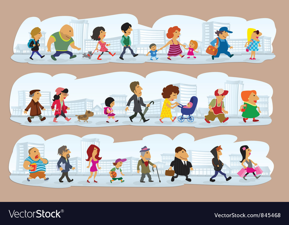 Characters on street vector image