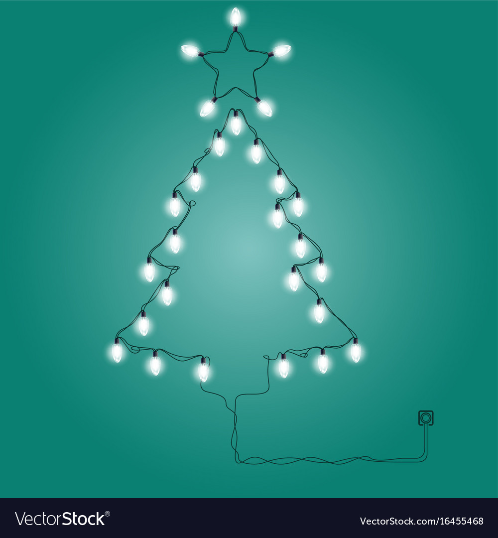 christmas tree made of christmas lights vector image - Christmas Tree Made Of Lights
