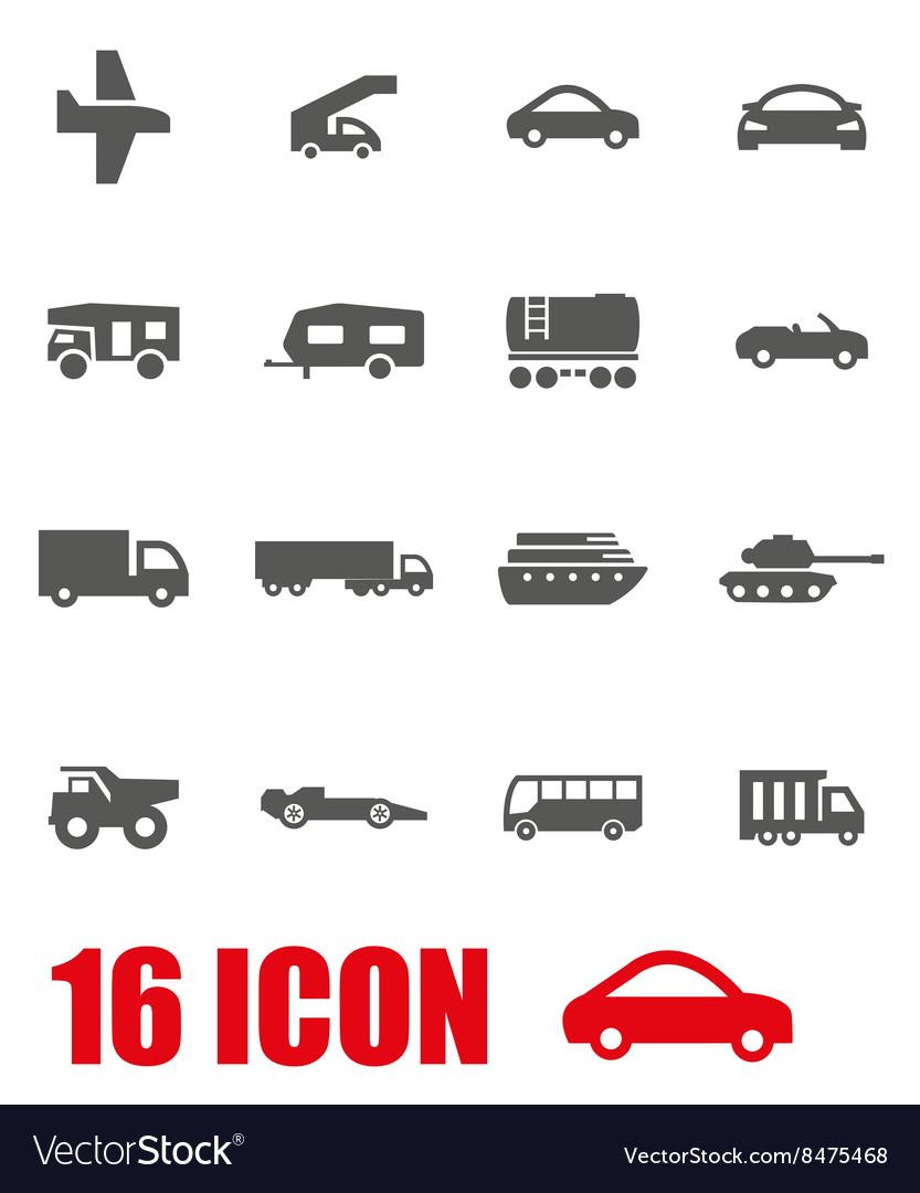 Grey vehicles icon set vector image