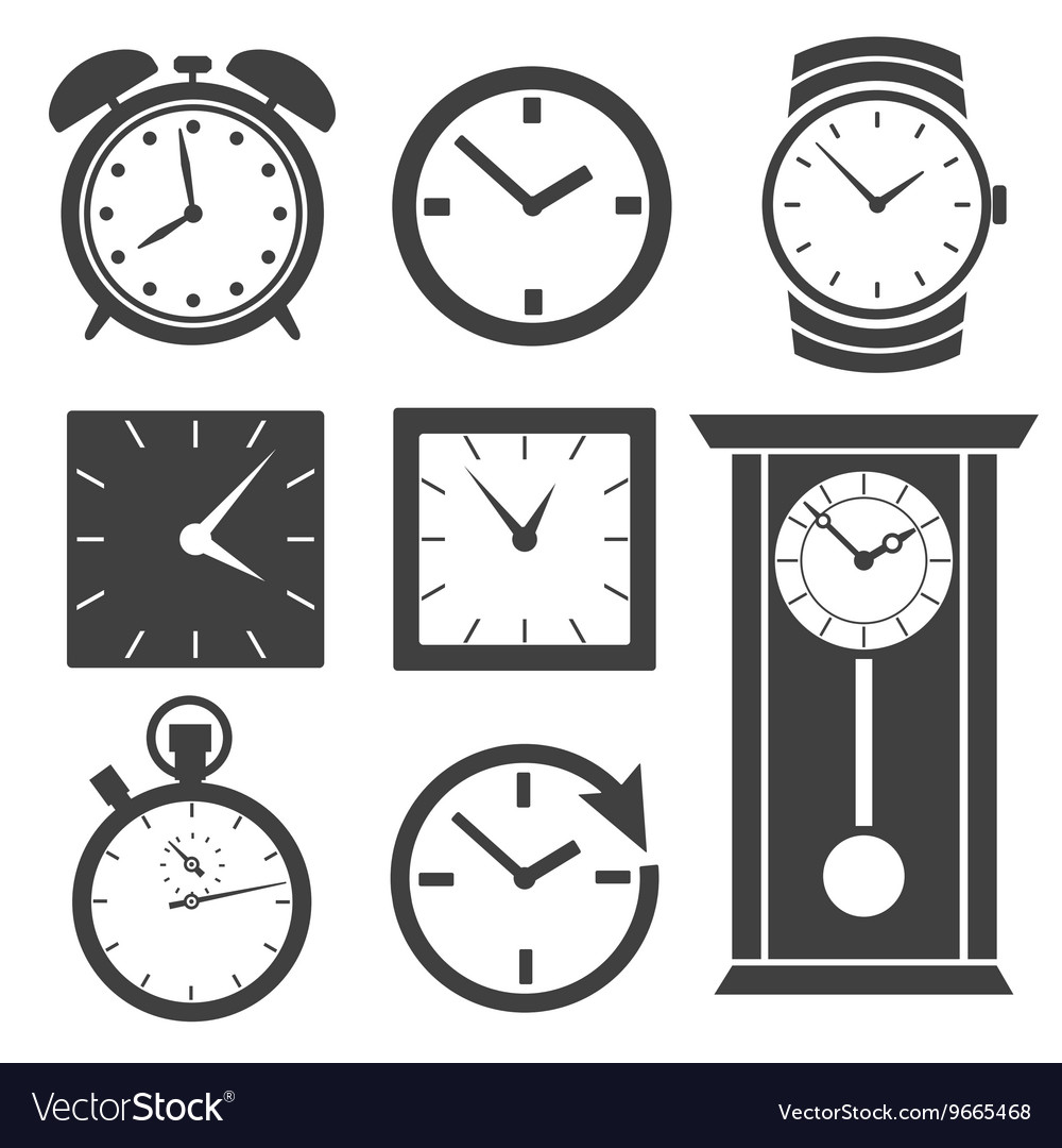 Set of different clock icons vector image