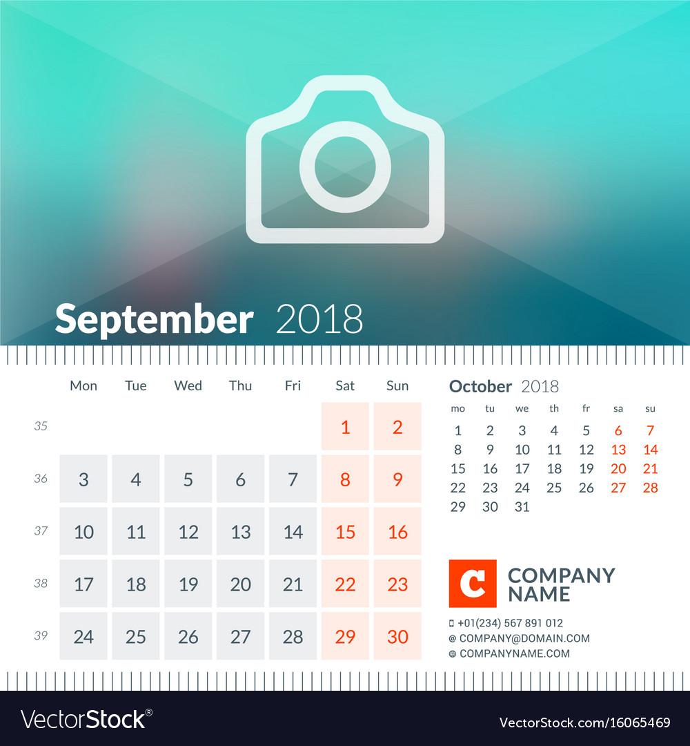September 2018 calendar for 2018 year week starts vector image