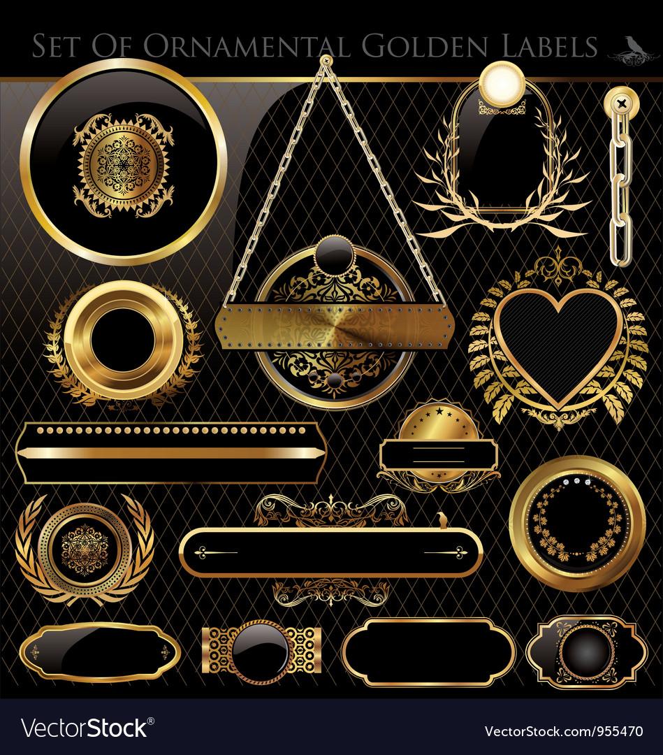 Black and Gold framed labels vector image