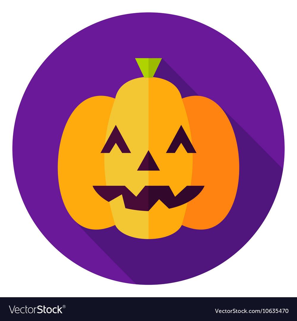Jack O Lantern Pumpkin Circle Icon vector image