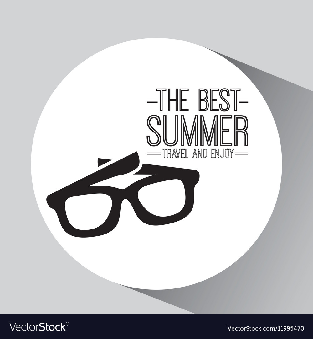 Sunglasses card best summer travel and enjoy vector image