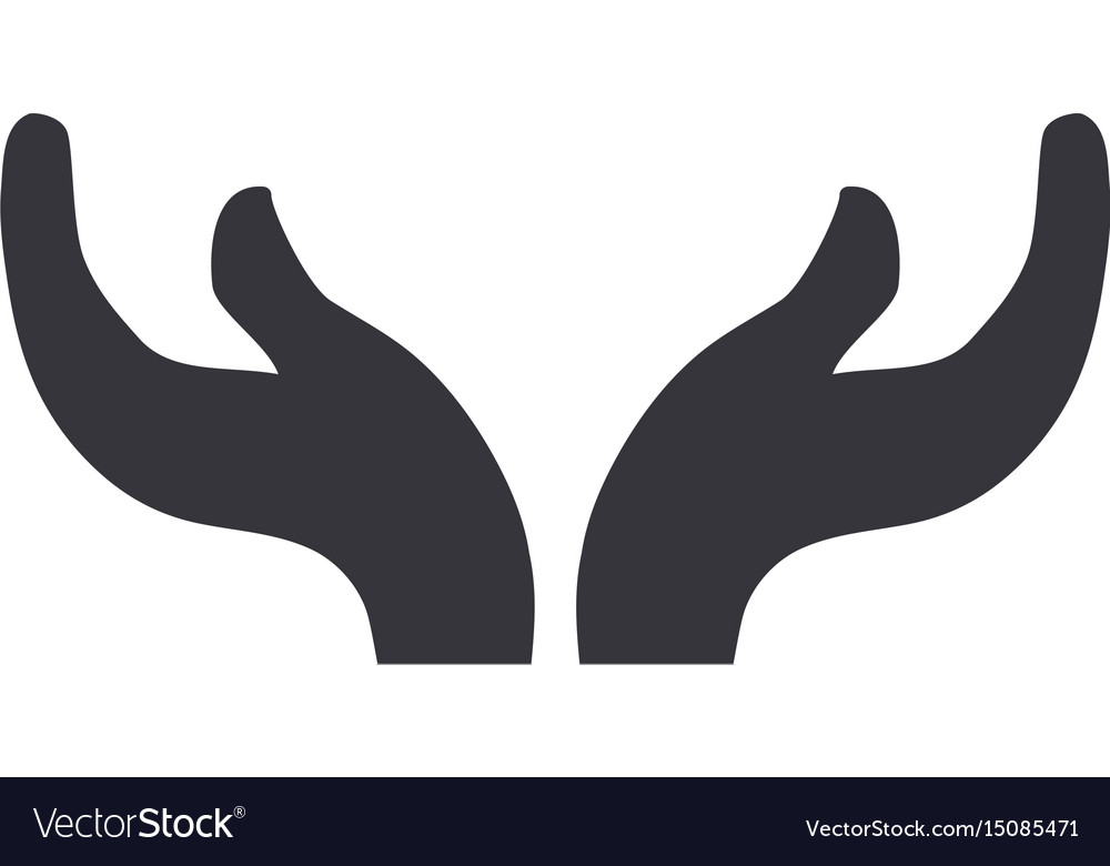 Hands up with symbolic sign vector image