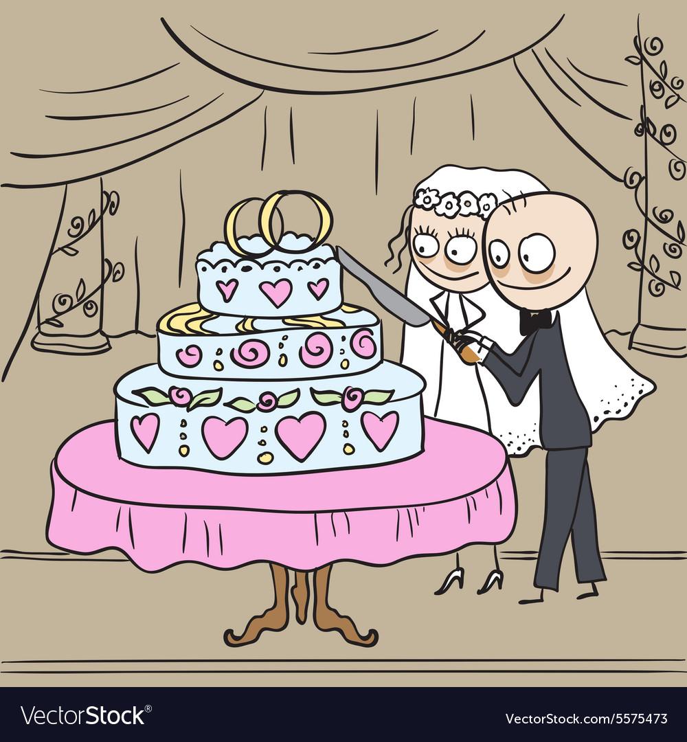 Bride and groom cut wedding cake vector image