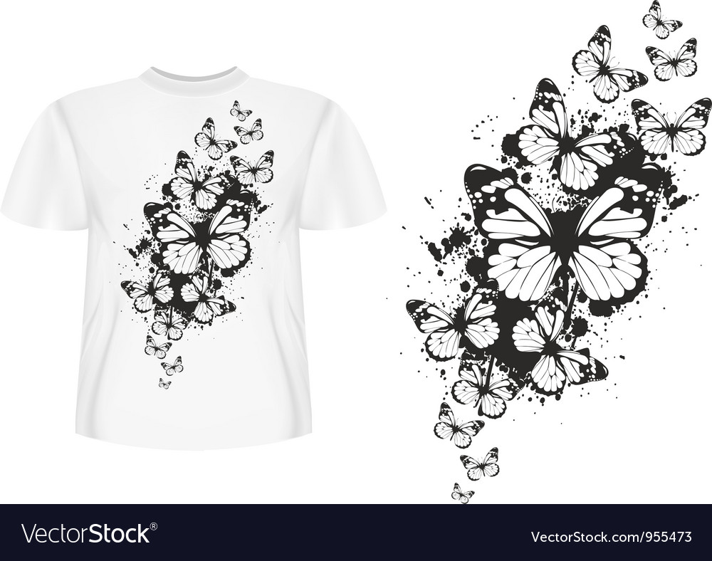 Butterfly design t shirt vector image
