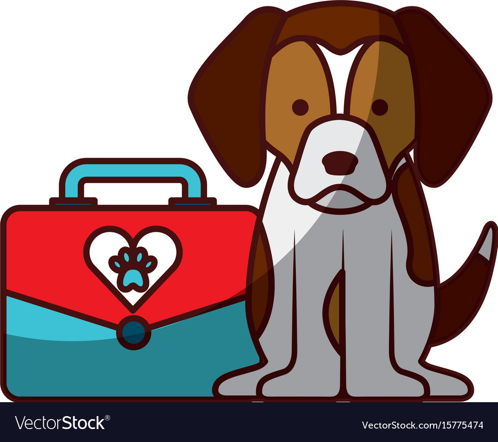 Cute dog mascot with box transport vector image