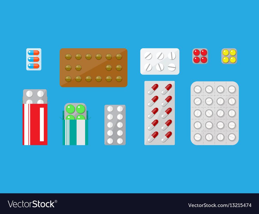 Medicine pills capsules set vector image