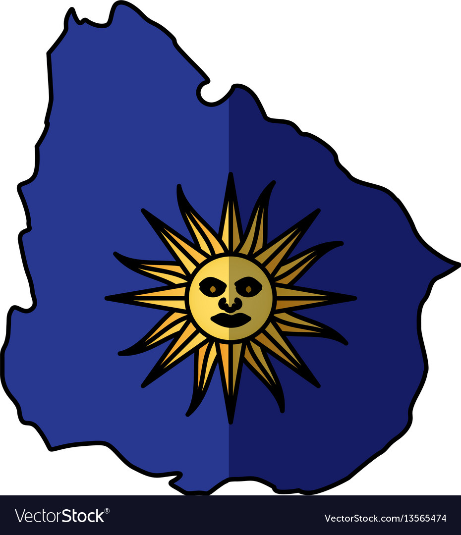 Uruguay map with sun icon vector image
