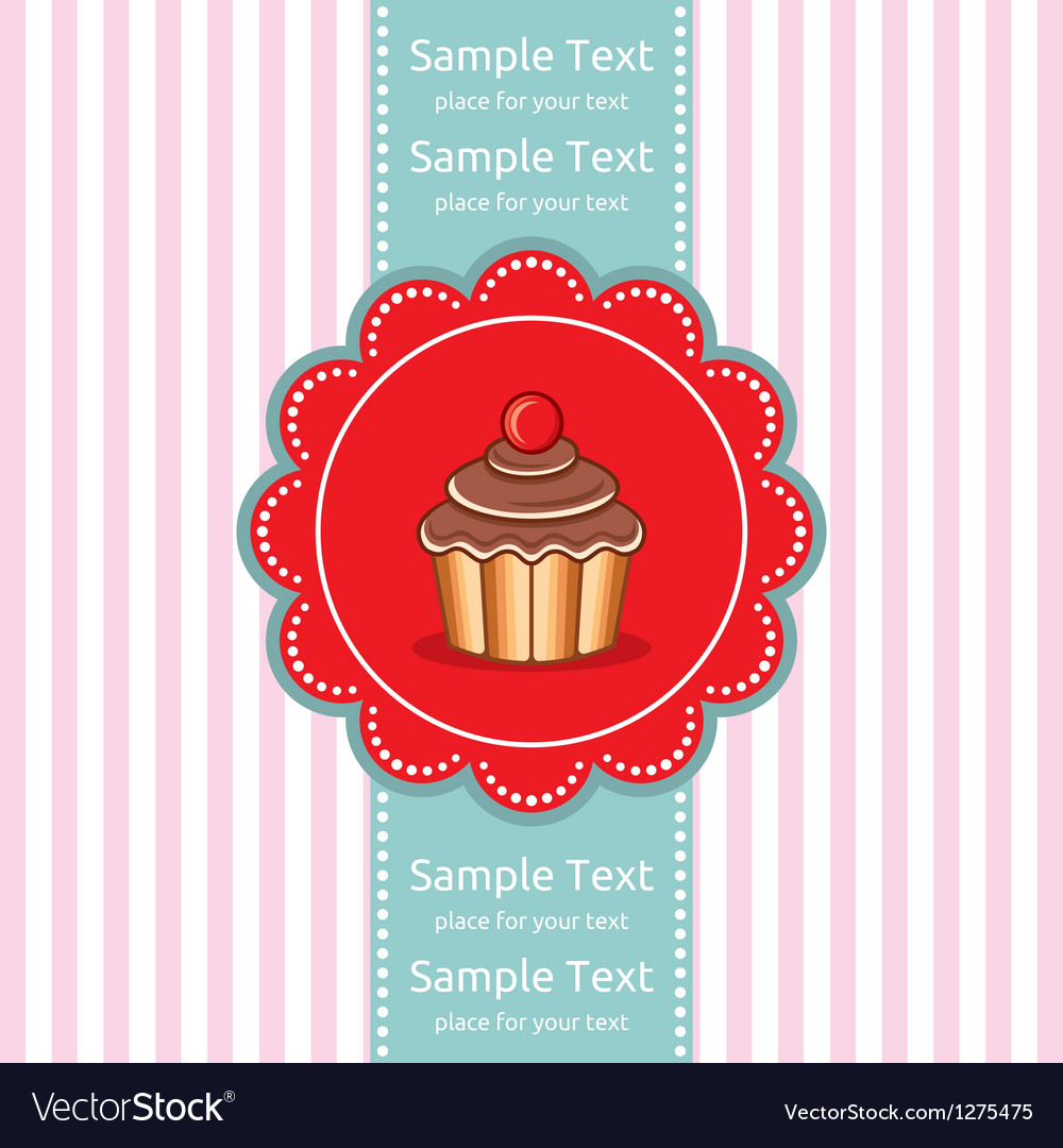Cute cupcake gift card vector image
