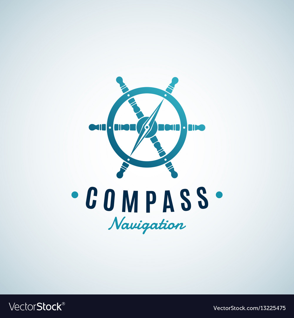 Compass navigation abstract sign emblem or vector image