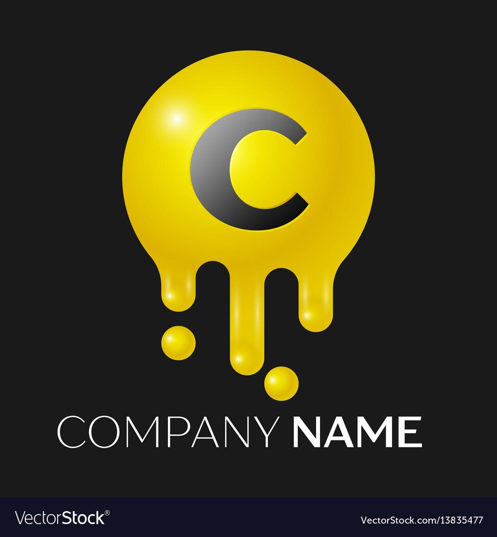 C letter splash logo yellow dots and bubbles vector image
