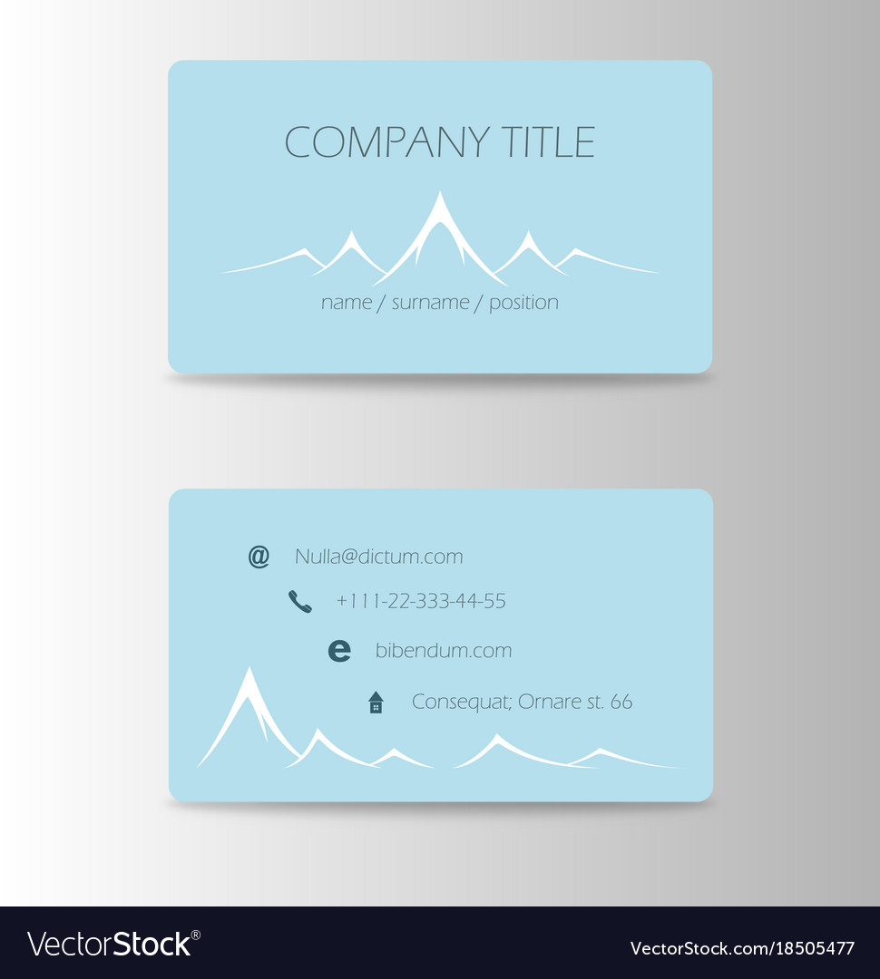 Vintage summer camping business card mountain