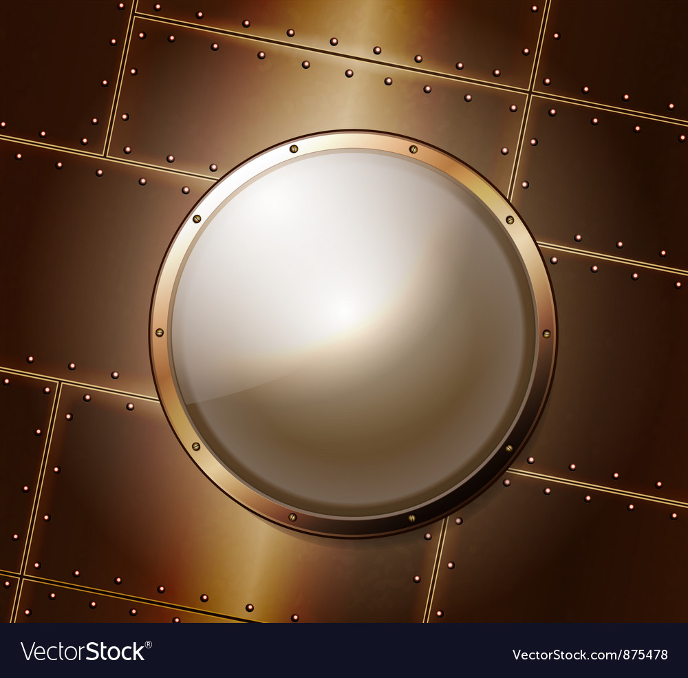 Riveted metal background with glass banner vector image
