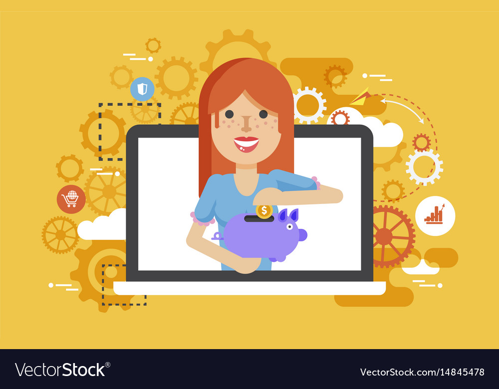 Woman piggy bank in hands vector image