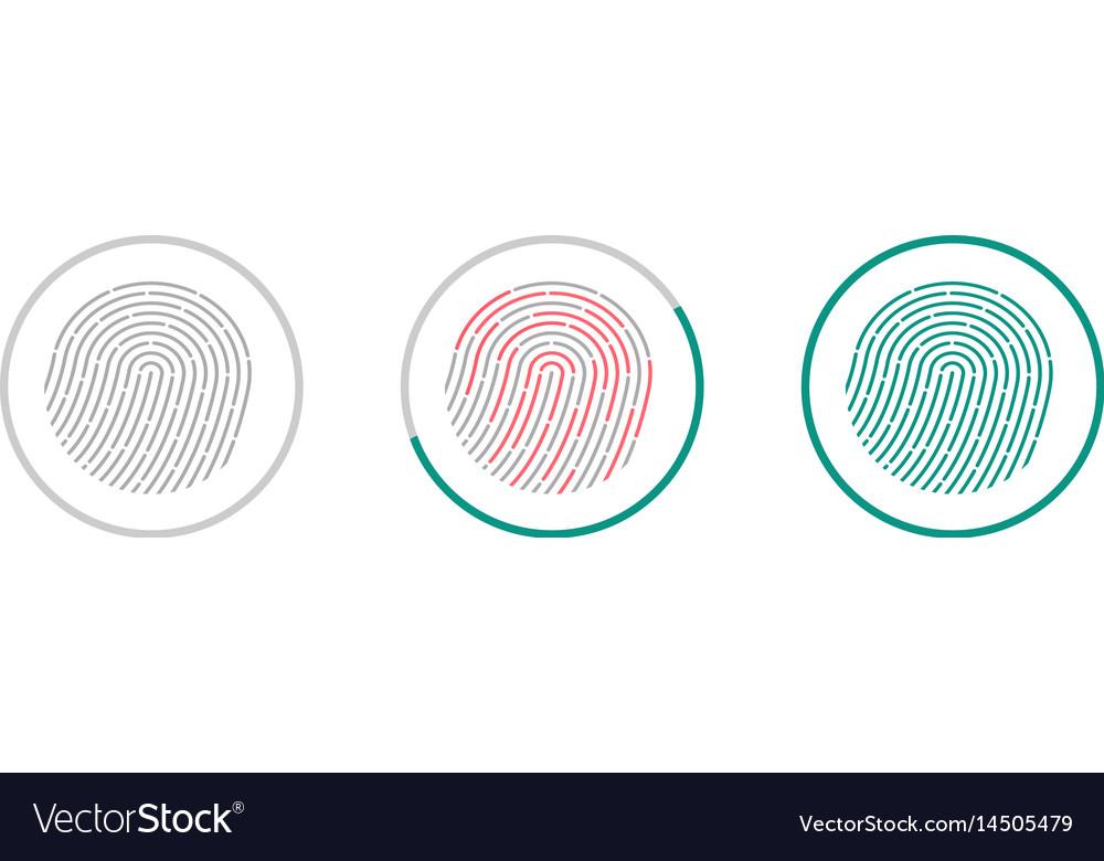 Fingerprint scanning icons isolated on white vector image